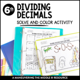 Dividing Decimals Solve and Color Activity