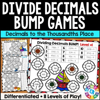 Dividing Decimals Games: 10 Multi-Level Bump Games for Dec