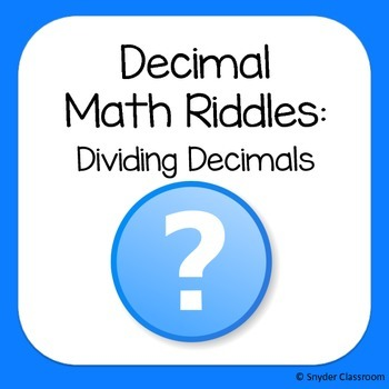 Long Division with Decimals Math Riddles