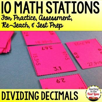 Dividing Decimals Test Prep Math Stations