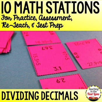 Dividing Decimals Test Prep Math Stations