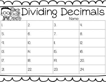 Dividing Decimals Task Cards