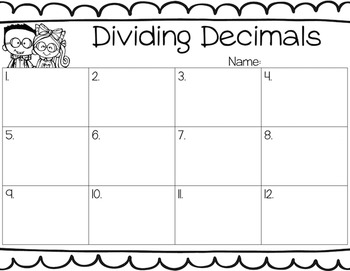 Dividing Decimals Task Cards for Centers, Review, Scoot, & Test Prep