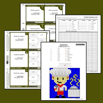 Decimal Division Mystery Pictures, Dividing Decimals Task Cards/Flip Cards