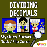 Dividing Decimals Coloring Pages, Decimal Division Project Mystery Pictures