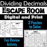 Dividing Decimals Activity: Escape Room Math 5th 6th 7th Grade