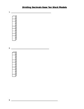 Dividing Decimals Base Ten Blocks Worksheet