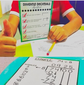 Dividing Decimals Checklist Cards! (Grades 4-7)