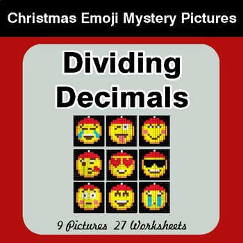 Dividing Decimals - Christmas EMOJI Color-By-Number Math Mystery Pictures