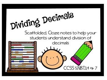 Dividing Decimals Close Note Taking Sheet Anchor Chart