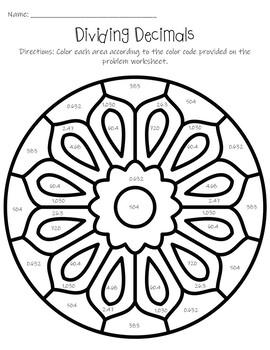 Dividing Decimals Color By Code