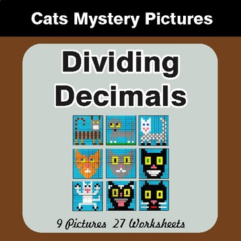 Dividing Decimals - Color-By-Number Math Mystery Pictures - Cats Theme