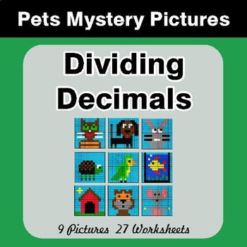 Dividing Decimals - Color-By-Number Math Mystery Pictures - Pets Theme