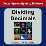 Dividing Decimals - Color-By-Number Math Mystery Pictures - Space theme