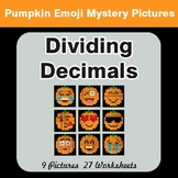 Dividing Decimals - Color-By-Number PUMPKIN EMOJI Mystery Pictures