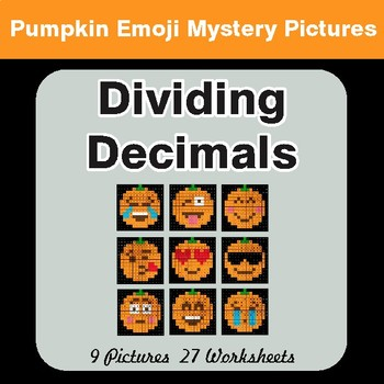 Dividing Decimals - Color-By-Number PUMPKIN EMOJI Math Mystery Pictures