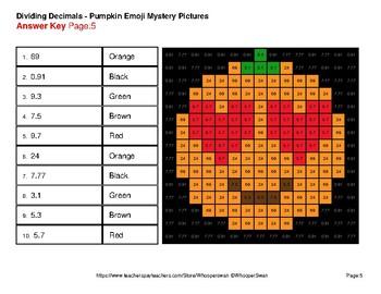 Dividing Decimals - Color-By-Number PUMPKIN EMOJI Mystery Pictures