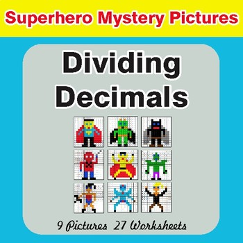 Dividing Decimals - Color-By-Number Superhero Mystery Pictures