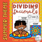 Dividing Decimals Color by Number: Summer/End-of-the-Year Theme