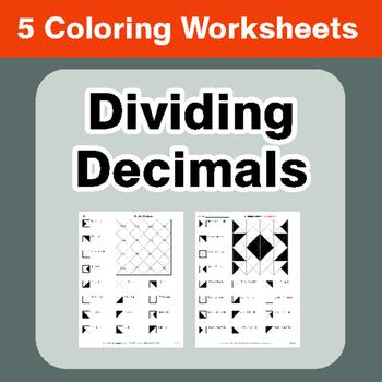 Dividing Decimals - Coloring Worksheets