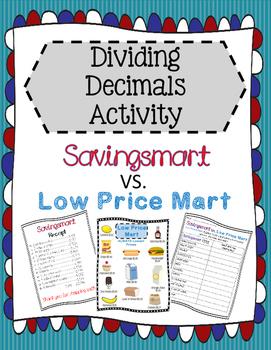 Dividing Decimals Comparing Prices Activity
