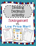 Dividing Decimals Comparing Prices Activity