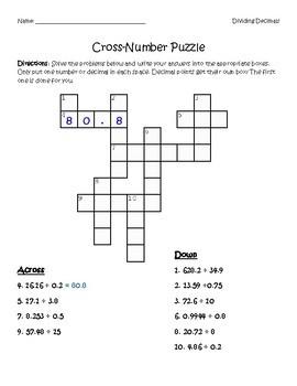 Dividing Decimals Cross-Number Puzzle
