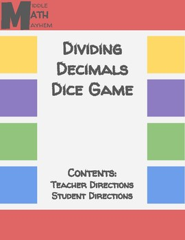 Dividing Decimals Dice Game