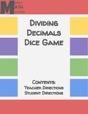 Dividing Decimals Dice Game