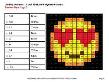 Dividing Decimals EMOJI Mystery Pictures
