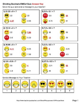 Dividing Decimals Emoji Quiz