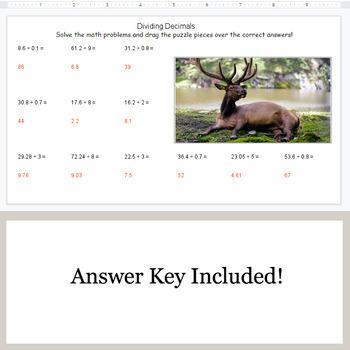 Dividing Decimals - Google Slides - Forest Animal Puzzles