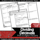 Dividing Decimals Guided Cornell Notes | Printable & Digit