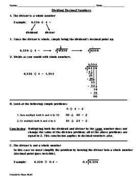 Dividing Decimals Instructions Sheet