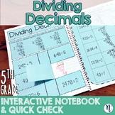 Dividing Decimals Interactive Notebook Activity & Quick Check TEKS 5.3G