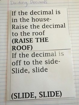 Dividing Decimals Interactive Notebook Foldable Entry