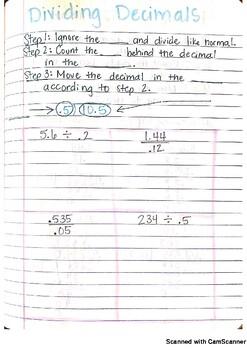 Dividing Decimals Journal Notes PDF