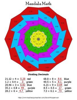 Dividing Decimals Mandala Math Color by Number