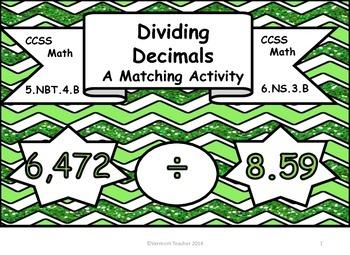 Dividing Decimals Matching Activity