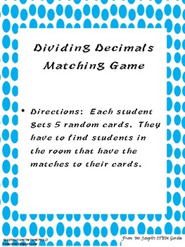 6th Grade Dividing Decimals Matching Game