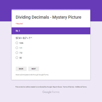 Dividing Decimals - Monster Mystery Picture - Google Forms