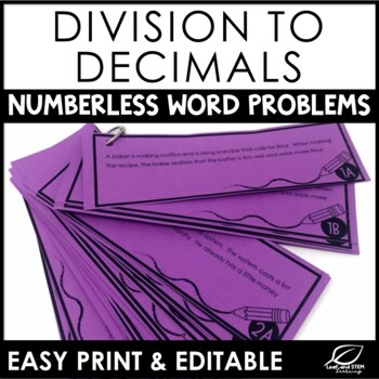 Dividing Decimals Multi Step Word Problems {Numberless Word Problems}