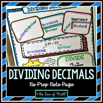 Dividing Decimals No Prep Note Pages