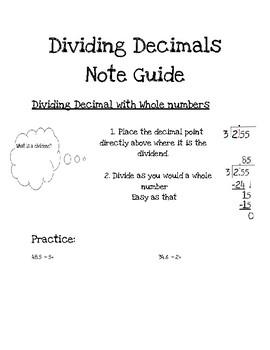Dividing Decimals Notes & Practice