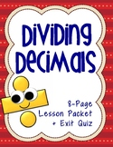 5th Grade Dividing Decimals: Complete Lesson Packet & Exit Quiz (5.NBT.7)