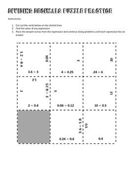 Dividing Decimals Puzzle Practice (Texas SE 7.3B and 6.3E)