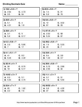 Dividing Decimals Quiz - Test - Assessment - Worksheets