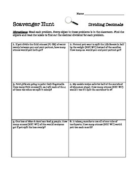 Dividing Decimals Scavenger Hunt Activity