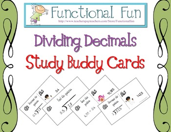 Dividing Decimals Study Buddy Cards