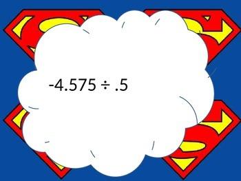 Dividing Decimals Superman Task Cards